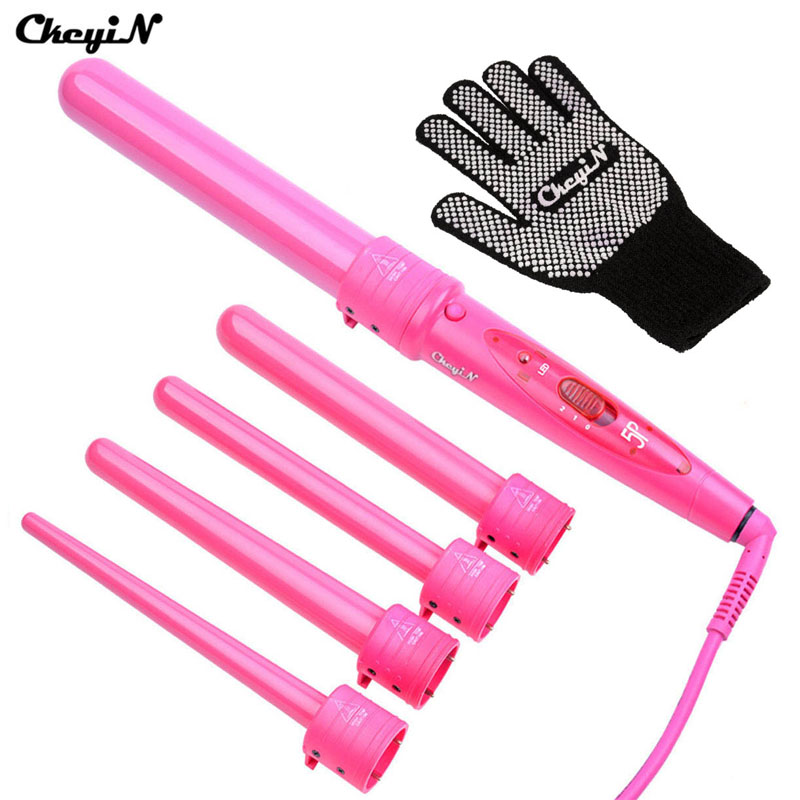5 in 1 Hair Curling Iron 09-32mm Ceramic Hair Wand Curler Electric Hair Styler Curls Professional Hair Curlers Roller +Glove 48 winhonors deep curly hair styler curls ceramic curling iron fashion wand curler pear hair curlers high quality curling wand
