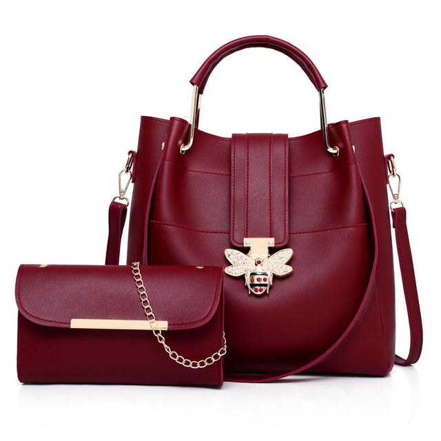 3b89fd9c37a Luxy Brand Designer Crossbody Bags 2 pcs/set Bee Buckle Women Bags Small  Leather Shoulder Bag Ladies Tote Bag Pink Handbag 011-in Shoulder Bags from  ...