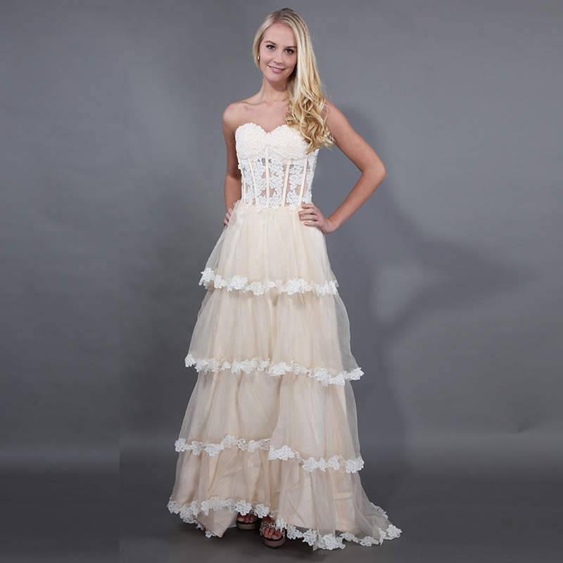 A-line Champagne   Prom     Dresses   Tulle Tiered Skirt Ivory Appliques Evening   Dresses   Formal Party Gowns Vestido Fiesta Gala 2019