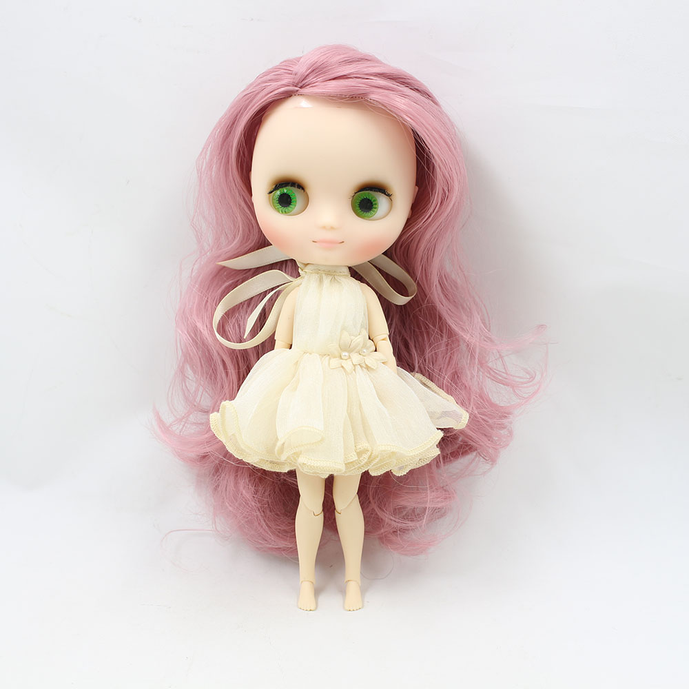 No.210BL1063 Nude middie blyth joint doll Pink hair Transparent face suitable DIY gift for girl like the icy doll middle blyth