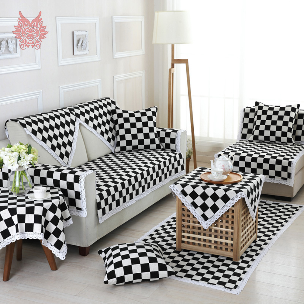 American Style Black White Plaid Lace Decor Sofa Cover Couch