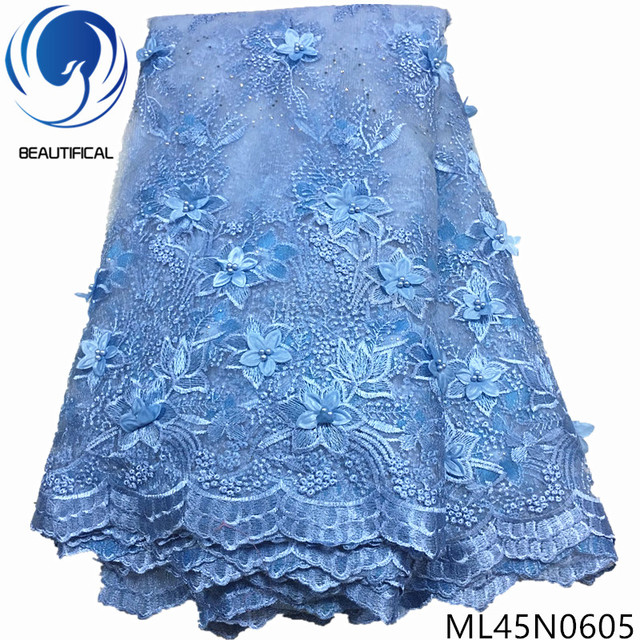 BEAUTIFICAL beads nigerian lace french tulle 3d lace embroidery fabric beads net french lace ML45N06