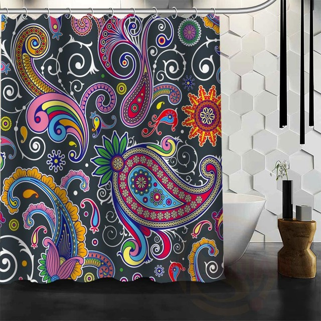 ShunQian Best Nice Custom Indian Pattern Shower Curtain Bath Waterproof Fabric For Bathroom MORE SIZE WJY67