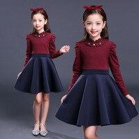 Elegant Kids Baby Girl Velvet Lining Dresses Autumn Winter 2017 Children Long Sleeve Warm Dress For