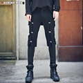 Quality Men's Unique Button Design Casual Rib Jogger Pant Black 2016 Autumn Fashion 29-32