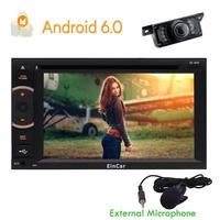 Rear Camera+2din Quad Core Car Stereo Android6.0 GPS Navitation DVD Player Support Phone Mirroring WIFI Bluetooth External Micro