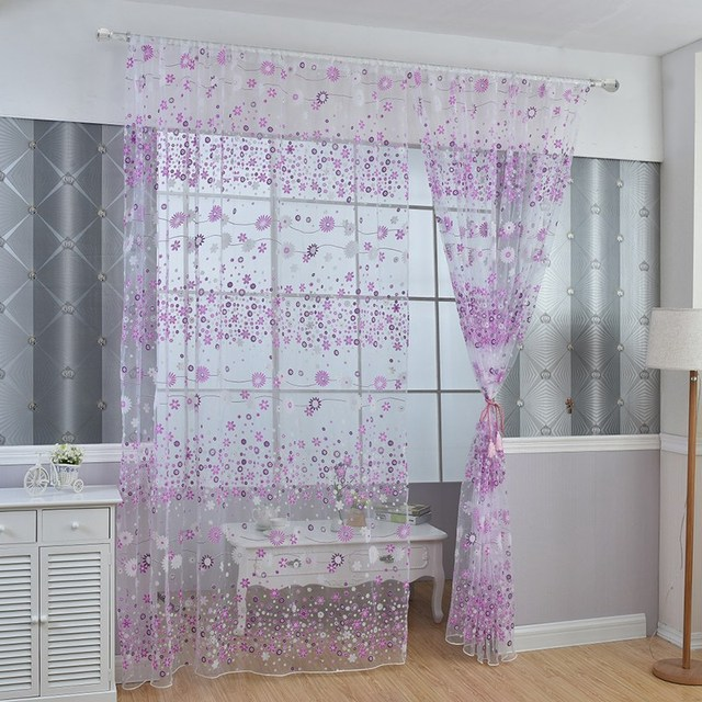 Trendy Rustic Printed Flower Curtains Home Textile Transpa Window Fabric Tulle Sheer For Kitchen