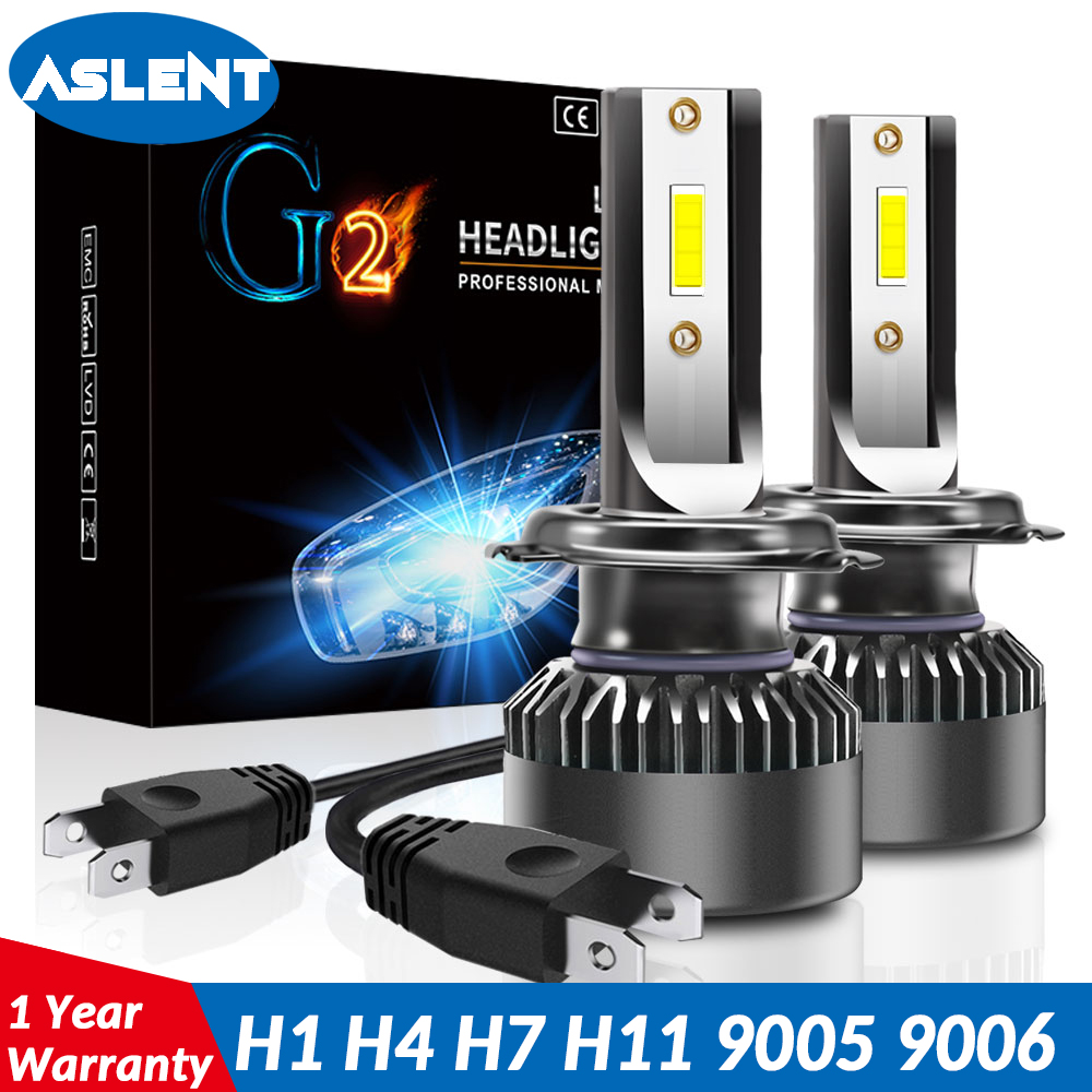 ASLENT 2X Mini Size H4 LED Headlamp H7 Car Accessories Light Bulbs H1 H11 9005 9006 9012 Auto Headlight 8000LM Super Bright 12V