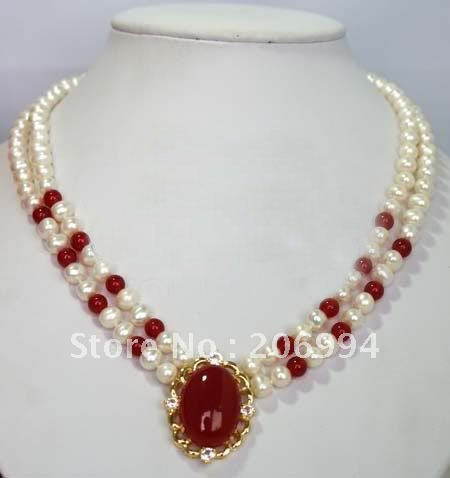 wholesales design Red Jade White Freshwater Pearl Necklace ...