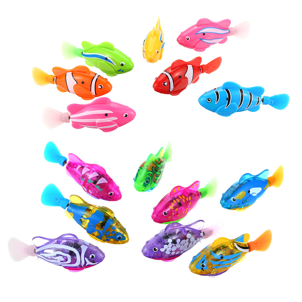 New Electronic Fish Pets With Flash Lighting Mini Sea Animal Electric Swimming Fish Toys For Children Gifts Battery Powered Fish