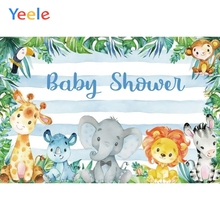 Yeele Animals Tropical Grass Blue Stripe Baby Shower Photography Backgrounds Customized Photographic Backdrops for Photo Studio