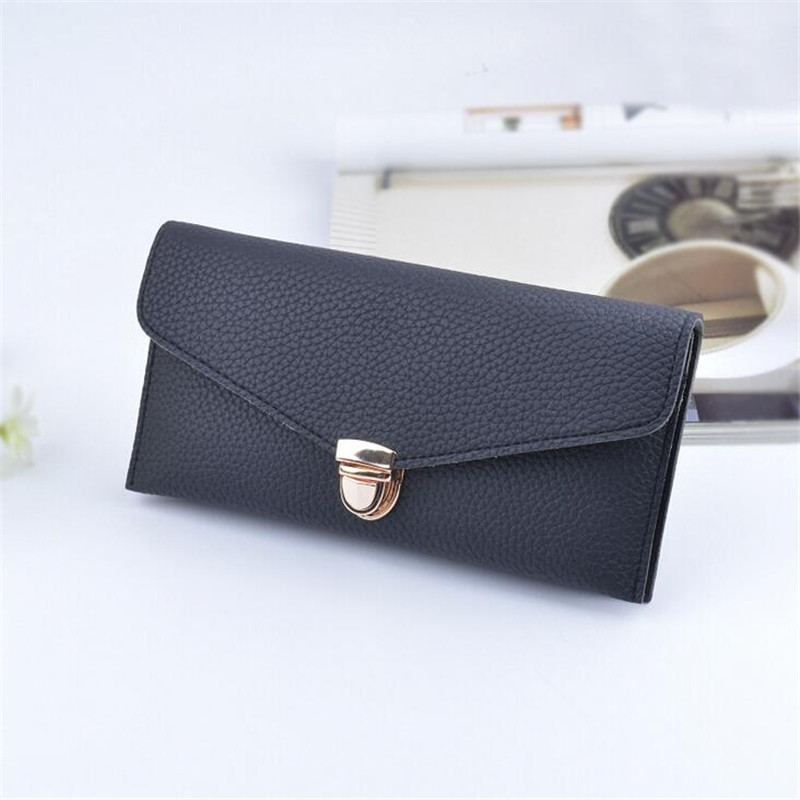 2016 New PU Leather Long Women Wallet Handbag Fashion Wallets Women Solid Color Design Lady's Clutch Coin Purse Card Holder cart