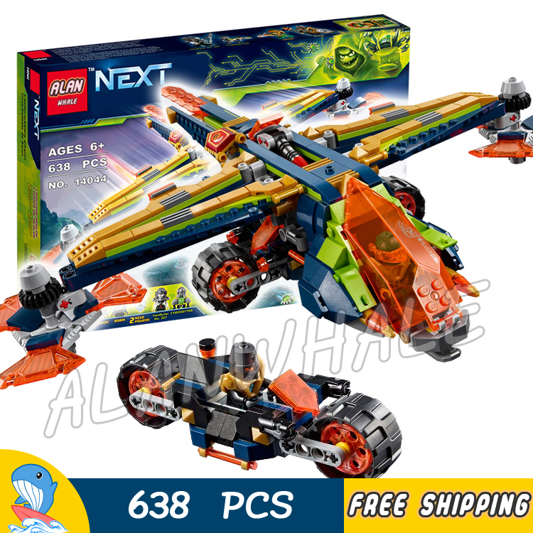 638pcs Knights Nexo Knights Aaron's X-Bow Fighter Plane 10818 Model Building Blocks Kids Toys Bricks Nexus Compatible With lego