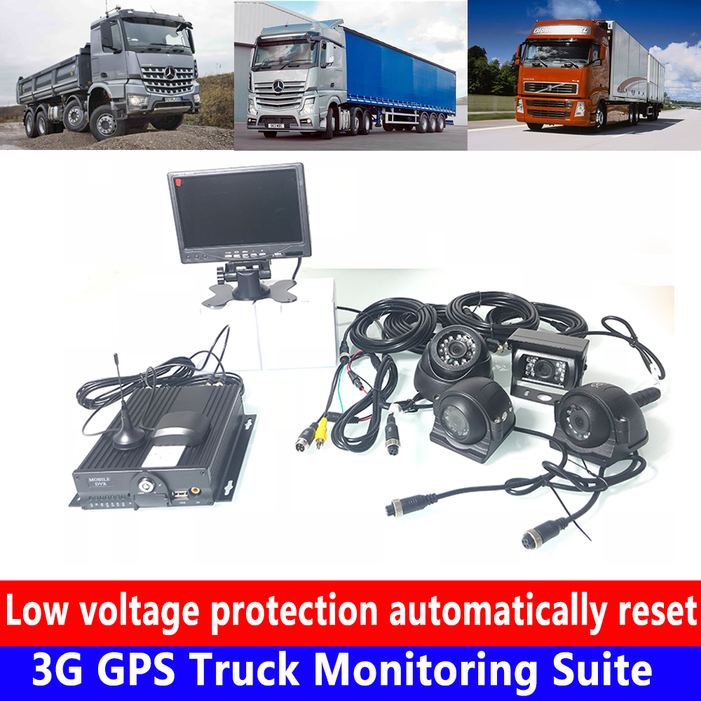 AHD 4CH remote video Monitoring dual SD card Monitoring host 3G GPS Truck Monitoring Suite waterproof car camera can add pickup title=