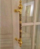 600mm 400mm Modern Fashion Deluxe 24K Gold Ktv Hotel Home Office Wooden Glass Door Handles Pulls