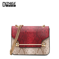 DIZHIGE Brand Famous 2017 High Quality Serpentine Leather Shoulder Bags For Teenage Girls Women Small Bag