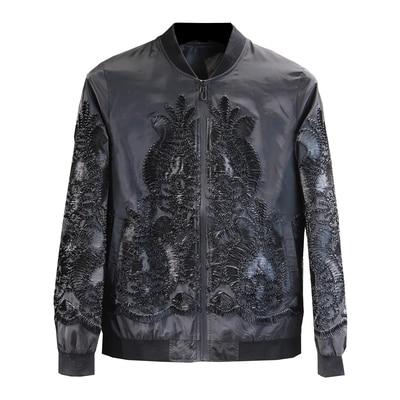 Erkek Kıyafeti'ten Ceketler'de Lüks erkek siyah barok aplike Avrupa çiçek desen smokin ceket/sahne/dans performansı jaceket'da  Grup 1