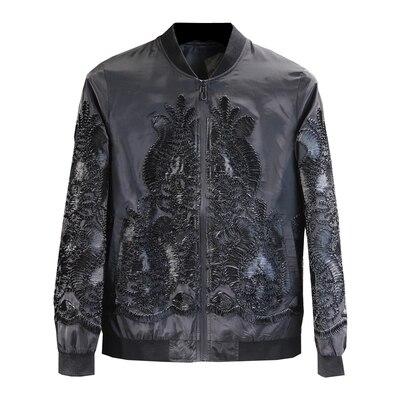 Luksusowe męskie czarny barokowy aplikacja europejski styl kwiatowy wzór smokingu kurtka/etap/taniec wydajność jaceket w Kurtki od Odzież męska na  Grupa 1