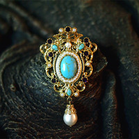 2017 new real Pearl flower Natural semi precious stones female Brooch Antiques Vintage Victoria Palace Royal Style Queen Corsage