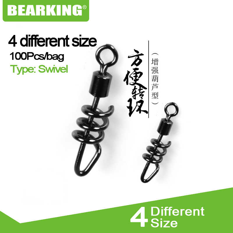 100PCS Hot model Bearking Rolling swivel with screwed snap Ball Bearing rolling Swivel Solid Ring Fishing Connector Fishing Hook
