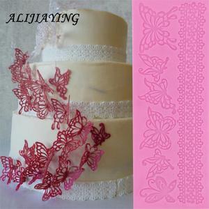 Image 1 - Holle vlinder Bloem Kant Schimmel Cake grens Decoratie gereedschappen Fondant Cake 3D Mold Food Grade Silicone mat Schimmel D0360