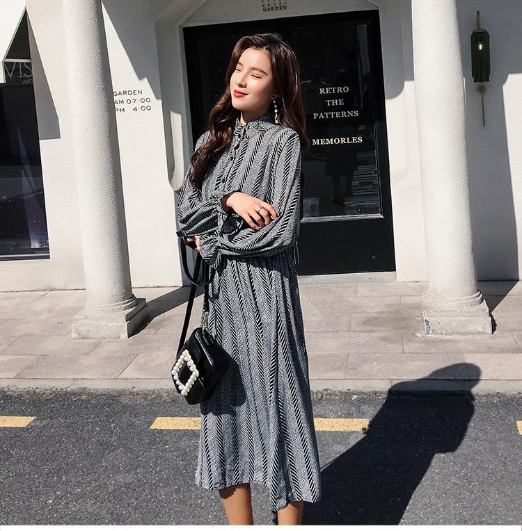 Women chiffon dress 2019 spring autumn female vintage print elegant a-line dress long sleeve loose casual office lady dress 14