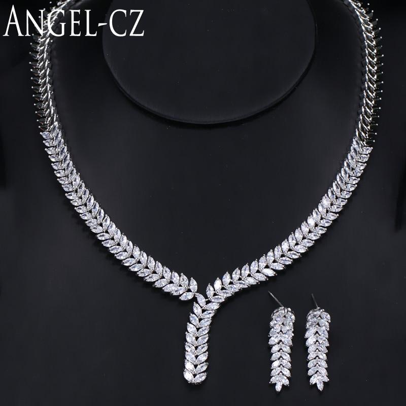 ANGELCZ Романтический Подарок на годовщину высокое качество австрийский кристалл кластер лист кулон ожерелье серьги набор ювелирных изделий