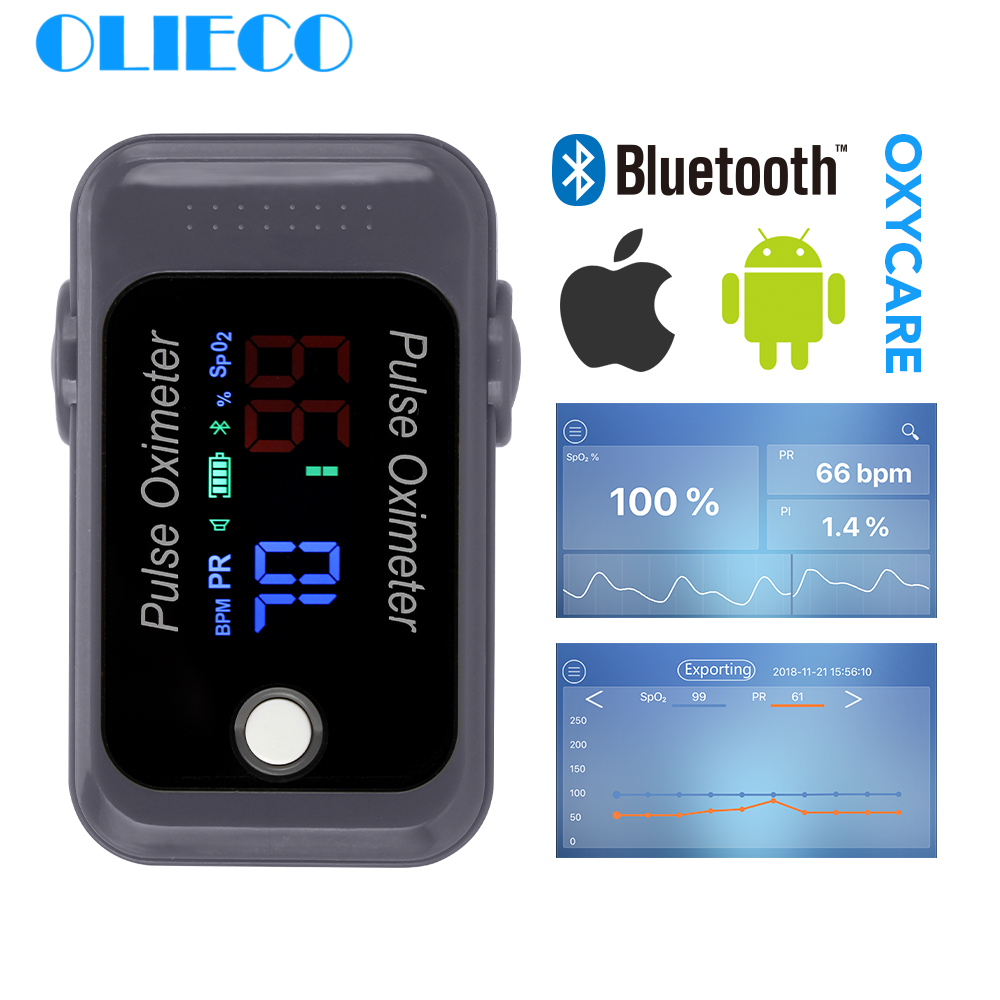 OLIECO Portable Mini Android IOS Bluetooth Finger Pulse Oximeter Blood Oxygen Sturation Meter SPO2 PR Oximetro Monitor Christmas
