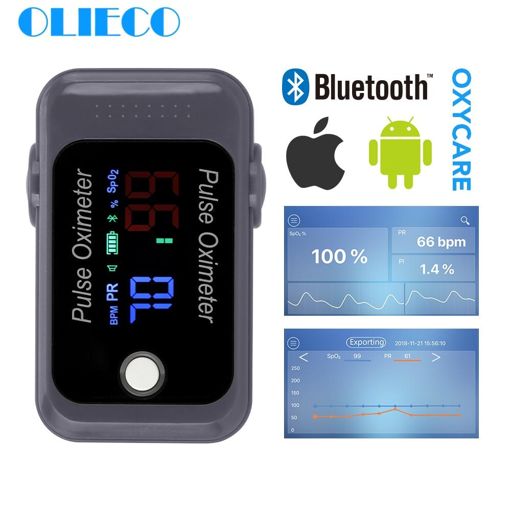OLIECO Portable Mini Android IOS Bluetooth Finger Pulse Oximeter Blood Oxygen Sturation Meter SPO2 PR Oximetro Monitor Christmas