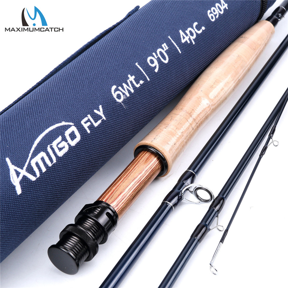 Maximumcatch Amigo 8'6''/9' 4/5/6/7/8wt Fly Fishing Rod 30T SK Carbon Fiber Fast Action Fly Rod with Cordura Tube maximumcatch top grade 4wt 5wt 6wt 7wt 8wt fly rod 9ft carbon fiber fast action black star fly fishing rod with cordura tube