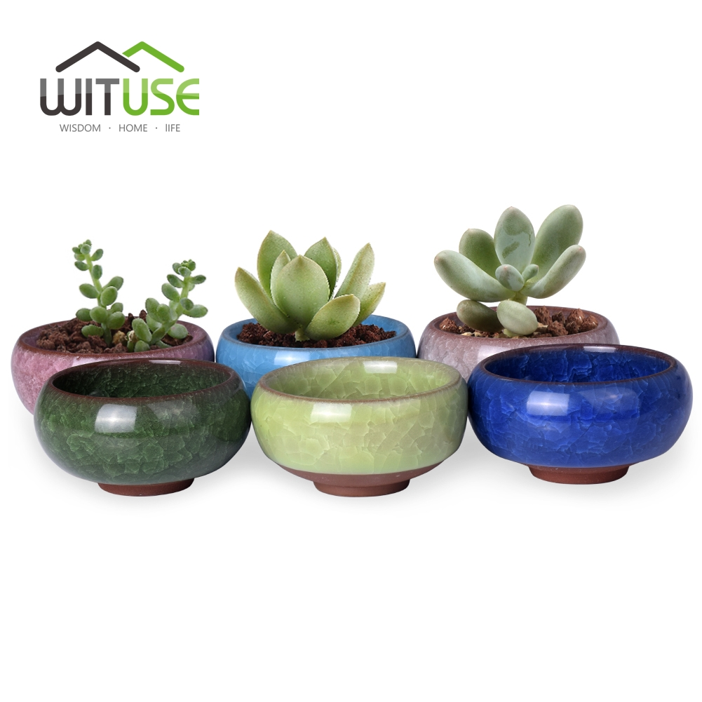 2.5*1.3 Flower Pot China Ice-crack Style Ceramic Succulent Planter Pots Flower Plastic 6 Colors Nursery Garden Desk Home Decor