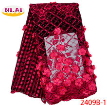 African Beaded 3D Tulle Lace Fabric 2019 African French Lace Fabric High Quality Nigerian Embroidery Tulle French Lace XY2409B-1(China)