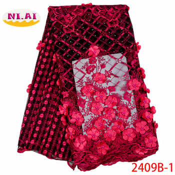 African Beaded 3D Tulle Lace Fabric 2019 African French Lace Fabric High Quality Nigerian Embroidery Tulle French Lace XY2409B-1 - DISCOUNT ITEM  37% OFF All Category