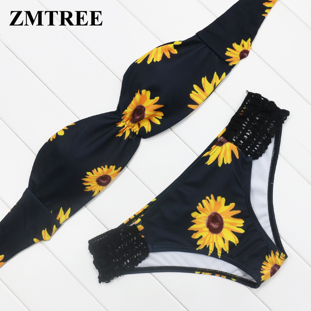 zmtree sunflower print bikini swimwear woman maillot de bain brazilian biquini bandeau bikini. Black Bedroom Furniture Sets. Home Design Ideas