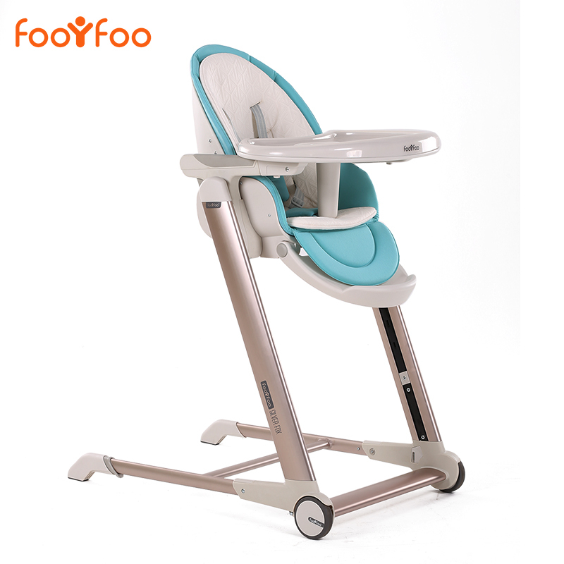 Luxury Baby Highchair Adjustable Foldable Metal Children Eatting Dinner Chair 4 Colors