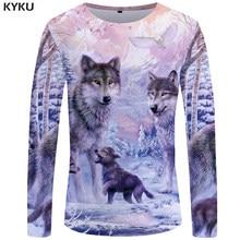 KYKU-Camiseta de manga larga con estampado de lobo para hombre, ropa de calle de amor, ropa de montaña con gráfico de nieve, camiseta 3d de jungla, ropa de Hip hop