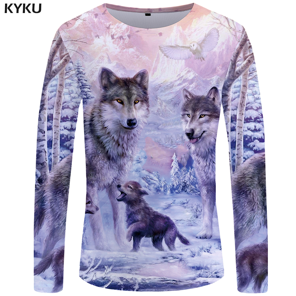KYKU Wolf   T     shirt   Men Long sleeve   shirt   Love Streetwear Snow Graphic Mountain Clothes Jungle 3d   T  -  shirt   Hip hop Mens Clothing