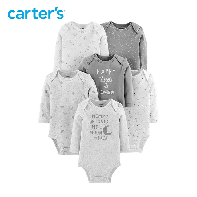 Carters 6Pcs bodysuit Baby girl clothes Cotton long sleeve print bodysuits Newborn baby boy clothing set autumn winter 126H686