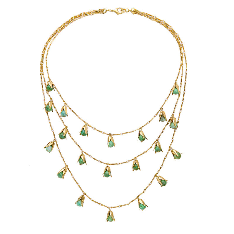 Multilayer Acrylic Pearl Beads Necklace Green White Chic Friendship Necklace Gold Color Female Collar Jewelry