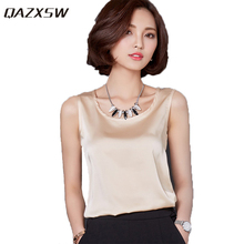 QAZXSW Summer Women Blouses 2017 New Casual Chiffon Silk Blouse Slim Sleeveless O-Neck Blusa Feminina Tops Shirts Solid YX2018
