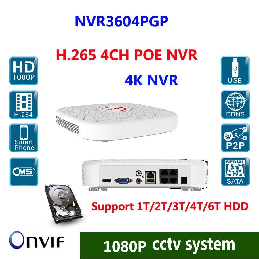 4CH H.265 POE NVR HDMI/VGA Output 4K Real Time 1SATA (MAX 6TB HDD) 2xUSB,9xRJ-45 Ethernet P2P, IE, VMS Remote View Smart Phone