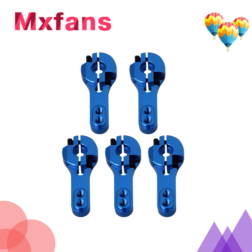 Mxfans RC Car Steering Aluminium Alloy Servo Arm 25T Red Pack of 5