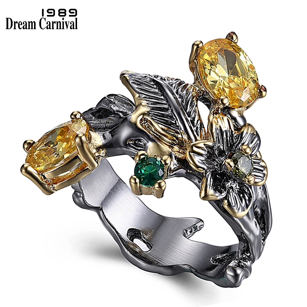 DreamCarnival 1989 Super New Flower Ring for Women Vintage Two Tones Colors Dark Champagne Green Olivine Cubic Zirconia WA11548(China)