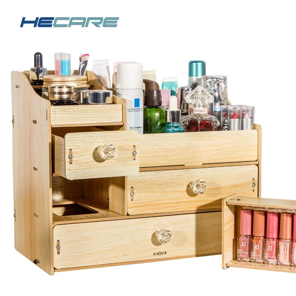 HECARE bricolage boîte de rangement en bois maquillage organisateur bijoux conteneur bois tiroir ...