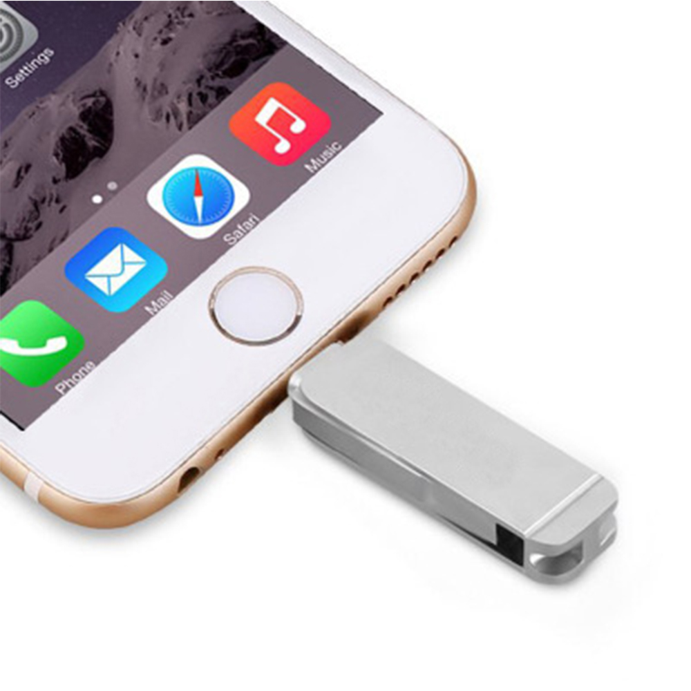 3 2 1 2 in 1 USB 3.0 Flash Drive Phone Computer U-Disk Portable 128G Memory Stick Flash Disk Compatible for iPhone iPad PC - Silver (5)