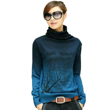 Autumn Style Knitted Sweater Turtleneck Tree Pattern Long Sleeve Gradient Color Basic Pullovers Women Sweater Warm Clothing