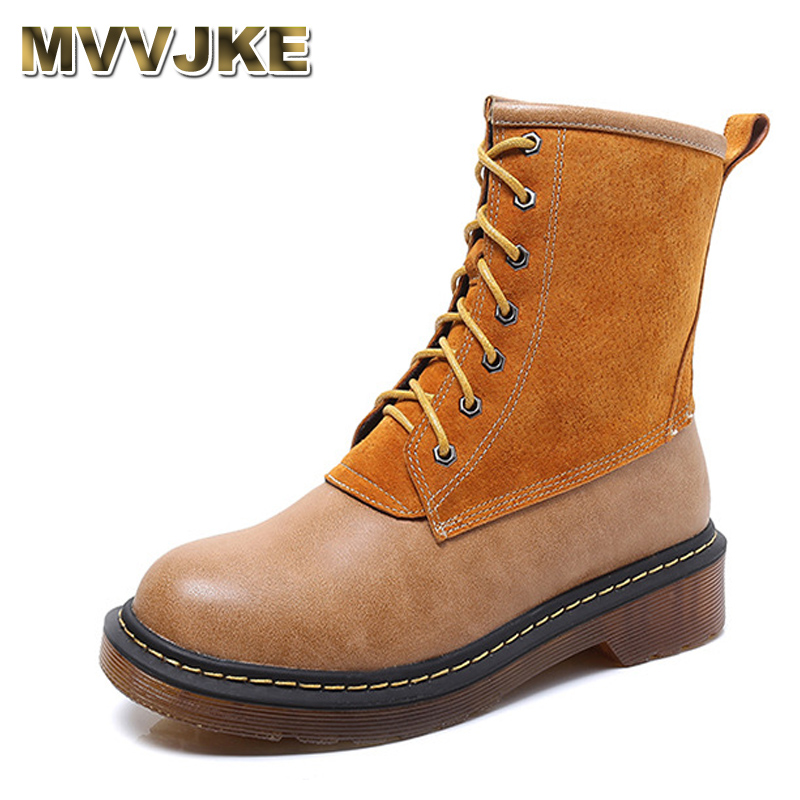 MVVJKE Women Fashion Patchwork Ankle Boots Lace Up Plus Size Casual Shoes Martin Boots for Spring Autumn A027 women fashion ankle boots plus size lace up casual shoes woman martin boots for spring autumn winter hh222 2