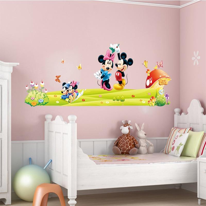 US $0.93 20% OFF|Heißer Mickey Maus Minnie Maus wand aufkleber kinder  kindergarten dekoration diy klebstoff wandbild abnehmbare vinyl hause  tapete-in ...
