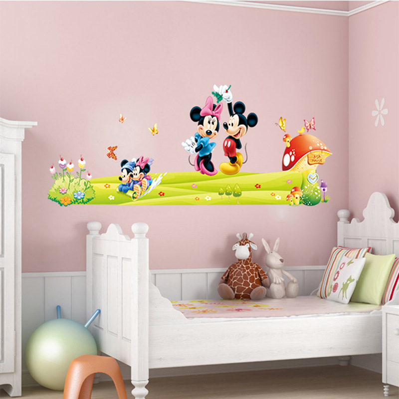 . US  0 92 21  OFF Hot Mickey Mouse Minnie Mouse wall sticker children room  nursery decoration diy adhesive mural removable vinyl home wallpaper in  Wall