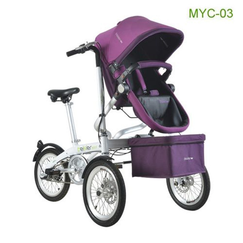 Mother & Baby Bike Stroller New Fashion 3 in 1 Three Wheels Stroller Steel Portable Baby Carriages Bicycle Folding Prams new child tricycle 3 wheels baby stroller bike ride on cars kids bicycle prams and pushchairs baby stroller 3 in 1